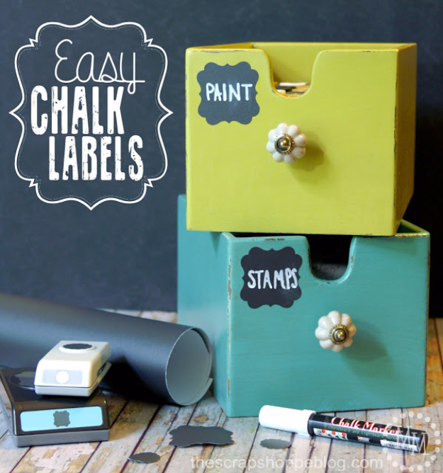 DIY School Supplies You Need For Back To School - Easy Chalk Labels - Cuter, Cool and Easy Projects for Teens, Tweens and Kids to Make for Middle School and High School. Fun Ideas for Backpacks, Pencils, Notebooks, Organizers, Binders http://diyprojectsforteens.com/diy-school-supplies