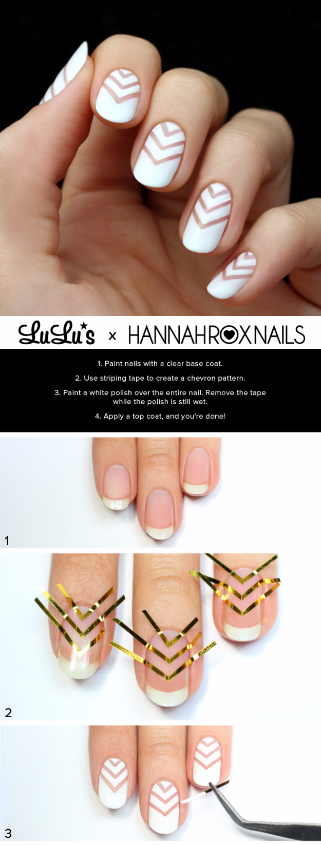 Awesome Nail Art Patterns And Ideas White Chevron Negative E Tutorial Step By