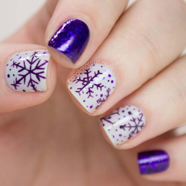 Cool Diy Nail Art Designs And Patterns For Christmas Holidays Purple Snowflakes Nailart