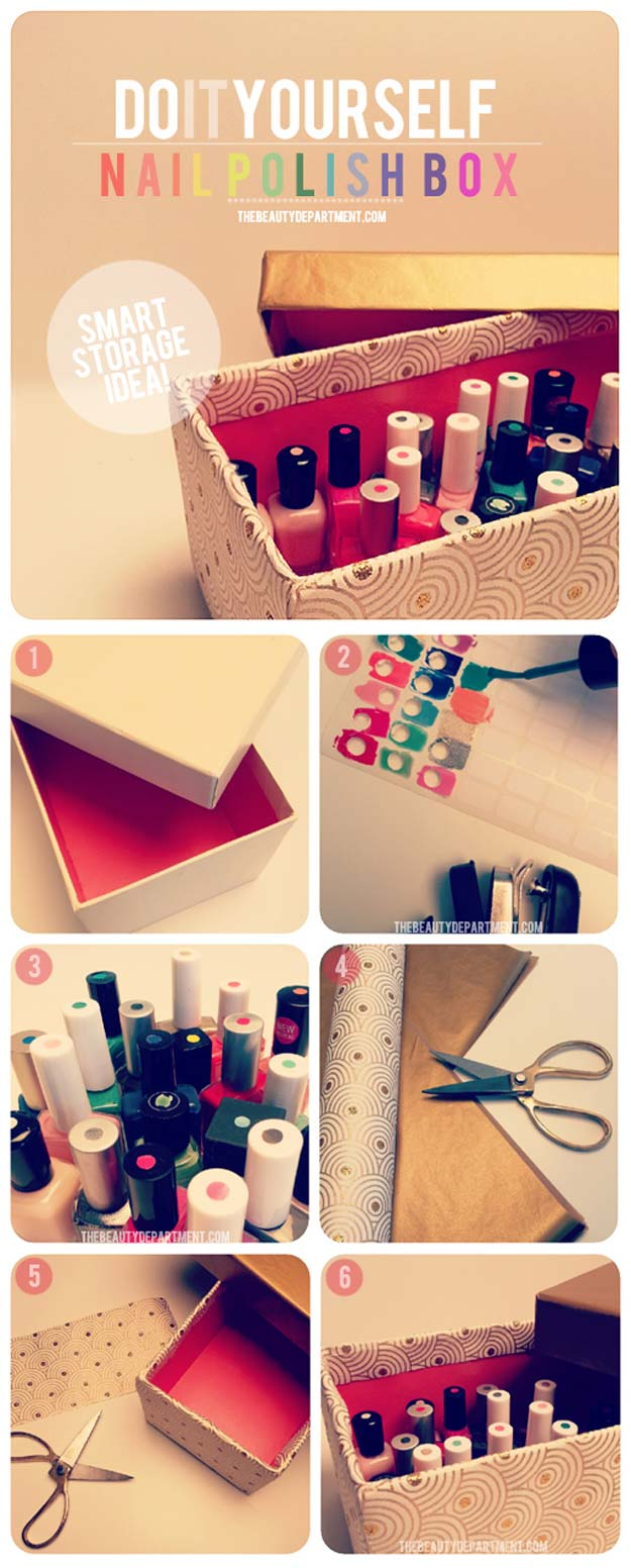 Diy Makeup Anizing Ideas Nail Polish Storage Idea Projects For Drawer Box