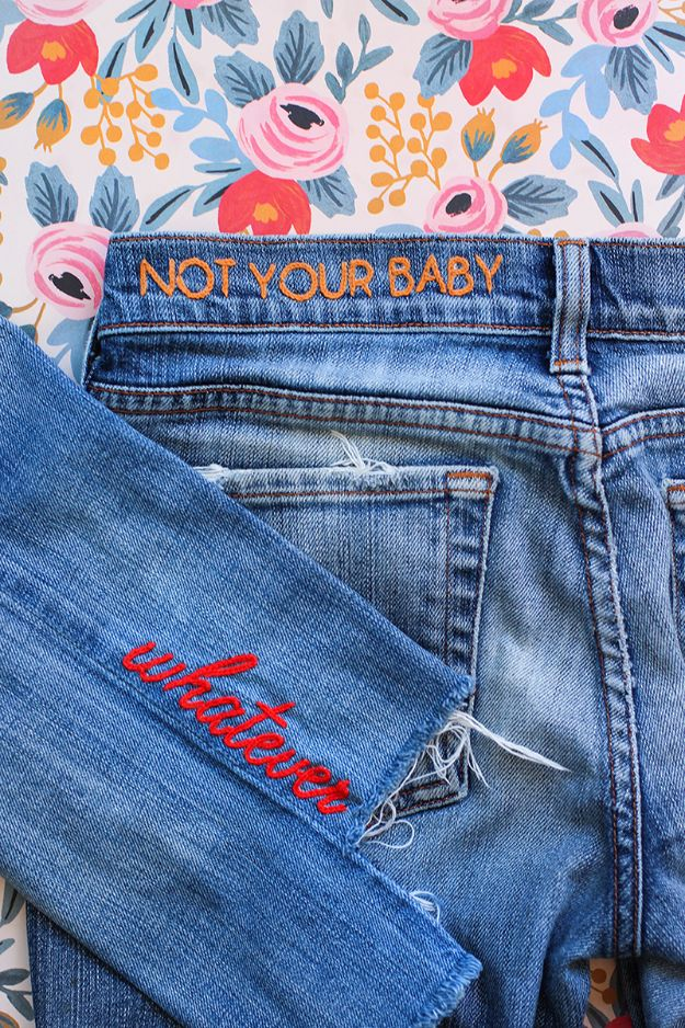 Cool Summer Fashions for Teens - DIY Denim Embroidery - Easy Sewing Projects and No Sew Crafts for Fun Fashion for Teenagers - DIY Clothes, Shoes and Accessories for Summertime Looks - Cheap and Creative Ways to Dress on A Budget http://diyprojectsforteens.com/diy-summer-fashion-teens