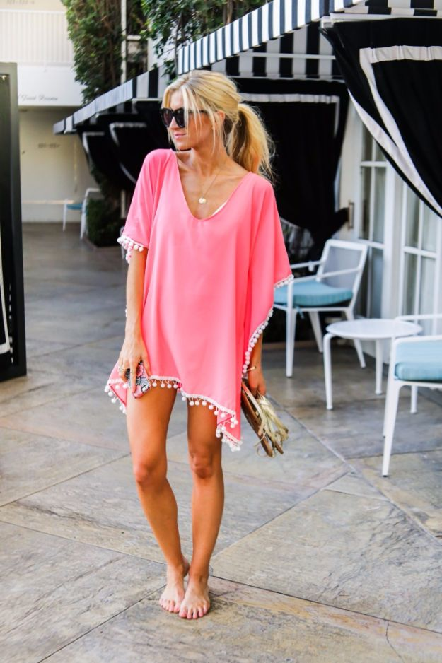 Cool Summer Fashions for Teens - DIY Pom Pom Kaftan - Easy Sewing Projects and No Sew Crafts for Fun Fashion for Teenagers - DIY Clothes, Shoes and Accessories for Summertime Looks - Cheap and Creative Ways to Dress on A Budget http://diyprojectsforteens.com/diy-summer-fashion-teens