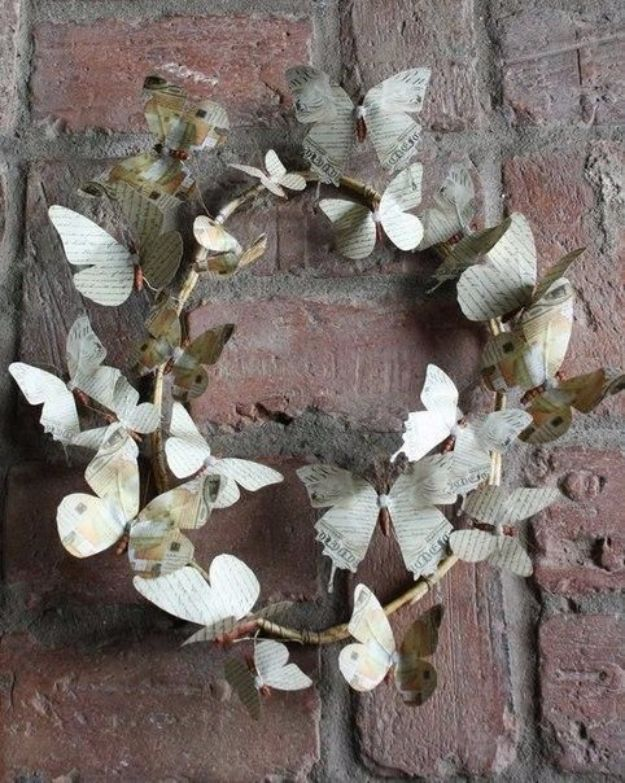 DIY Ideas With Butterflies - Wreath Of Paper Butterflies - Cute and Easy DIY Projects for Butterfly Lovers - Wall and Home Decor Projects, Things To Make and Sell on Etsy - Quick Gifts to Make for Friends and Family - Homemade No Sew Projects- Fun Jewelry, Cool Clothes and Accessories #diyideas #butterflies #teencrafts