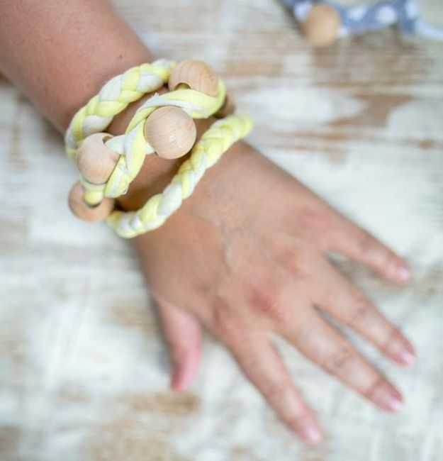 DIY Ideas With Old T-shirts - Braided T-Shirt Bracelet - Tshirt Makeovers and Transformation Ideas for Tee Shirts - DIY Clothes to Make On A Budgert - Creative and Easy Fashion Ideas for Teen Girls, Teenagers, Adults - Cut and Refashion Your Shirts With These Step by Step Tutorials #teencrafts #tshirtideas #diyclothes #fashion #crafts