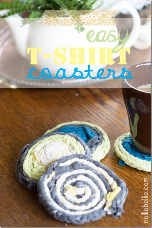 DIY Ideas With Old T-shirts - Easy T-Shirt Drink Coasters - Tshirt Makeovers and Transformation Ideas for Tee Shirts - DIY Clothes to Make On A Budgert - Creative and Easy Fashion Ideas for Teen Girls, Teenagers, Adults - Cut and Refashion Your Shirts With These Step by Step Tutorials #teencrafts #tshirtideas #diyclothes #fashion #crafts