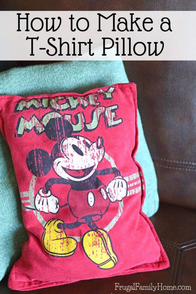DIY Ideas With Old T-shirts - Make a T-Shirt Pillow - Tshirt Makeovers and Transformation Ideas for Tee Shirts - DIY Clothes to Make On A Budgert - Creative and Easy Fashion Ideas for Teen Girls, Teenagers, Adults - Cut and Refashion Your Shirts With These Step by Step Tutorials #teencrafts #tshirtideas #diyclothes #fashion #crafts