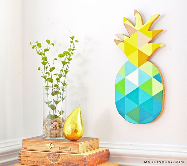 Pineapple Crafts - DIY Painted Geometric Ananas - Cute Craft Projects That Cool DIY Gifts - Wall Decor, Bedroom Art, Jewelry Idea