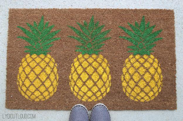 Ananas ambachten - DIY ananas deurmat - leuke ambachtelijke projecten die coole DIY geschenken maken - Wall Decor, slaapkamer Art, sieraden idee