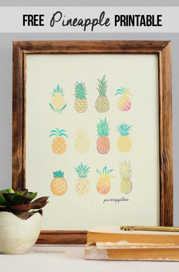 Ananas ambachten - gratis ananas afdrukbare voor het huis - leuke ambachtelijke projecten die coole DIY geschenken maken - Wall Decor, slaapkamer Art, sieraden idee