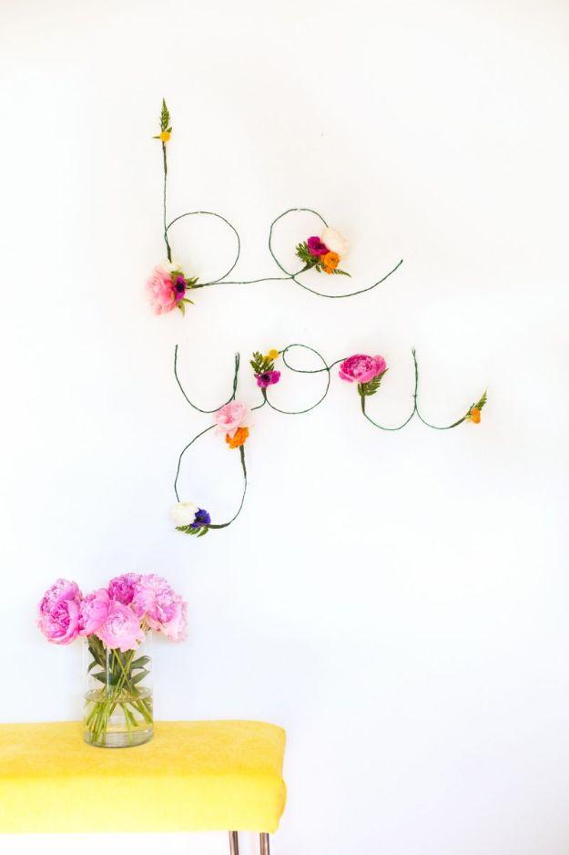 DIY Wall Art Ideas for Teens - DIY Floral and Wire Words - Teen Boy and Girl Bedroom Wall Decor Ideas - Goedkope canvasschilderijen en wandkleden voor kamerdecoratie