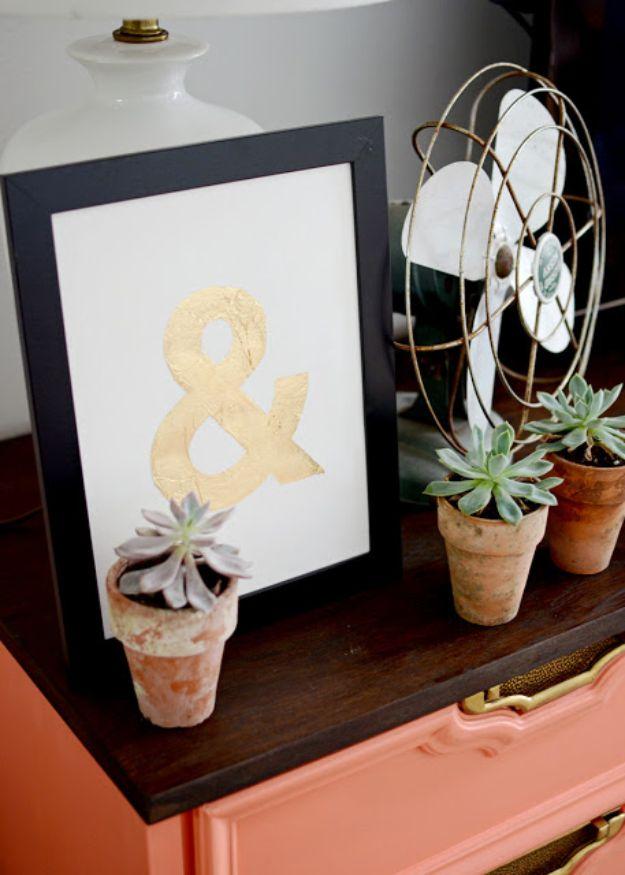 DIY Wall Art Ideas for Teens - DIY Gold Leaf Monogram Art - Teen Boy and Girl Bedroom Wall Decor Ideas - Goedkope canvas schilderijen en wandkleden voor kamerdecoratie