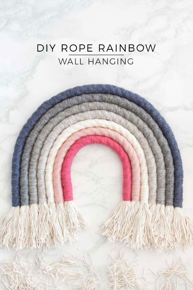 DIY Wall Art Ideas for Teens - DIY Rope Rainbow Wall Hanging - Teen Boy and Girl Bedroom Wall Decor Ideas - Goedkope canvas schilderijen en wandkleden voor kamerdecoratie