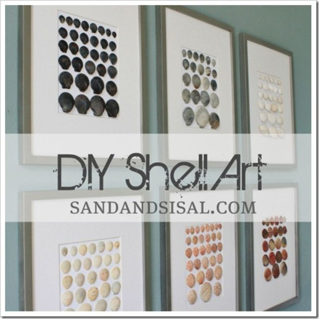 DIY Wall Art Ideas for Teens - DIY Shell Art - Teen Boy and Girl Bedroom Wall Decor Ideas - Goedkope canvas schilderijen en wandkleden voor kamerdecoratie
