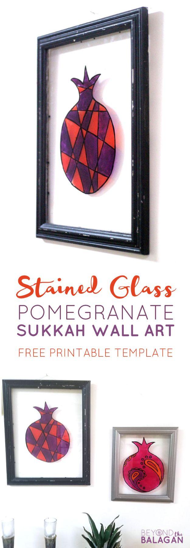 DIY Wall Art Ideas for Teens - Stained Glass Pomegranate Sukkah Wall Art - Teen Boy and Girl Bedroom Wall Decor Ideas - Goedkope canvasschilderijen en wandkleden voor kamerdecoratie