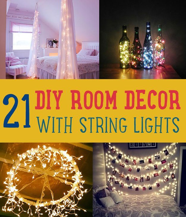 21 DIY Room Decor with String Lights | http://diyready.com/diy-room-decor-with-string-lights-you-can-use-year-round/