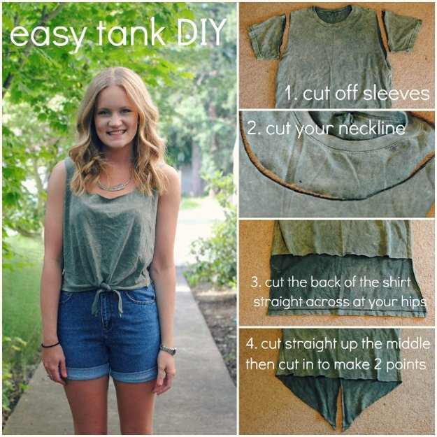 Easy Tank Top DIY Project for Teens | diyready.com/diy-clothes-sewing-blouses-tutorial/