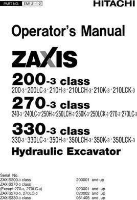 Owner Operator Manual for Hitachi Zaxis-3 Series model