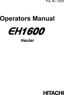Operators Manuals for Hitachi Eh Series model Eh1600
