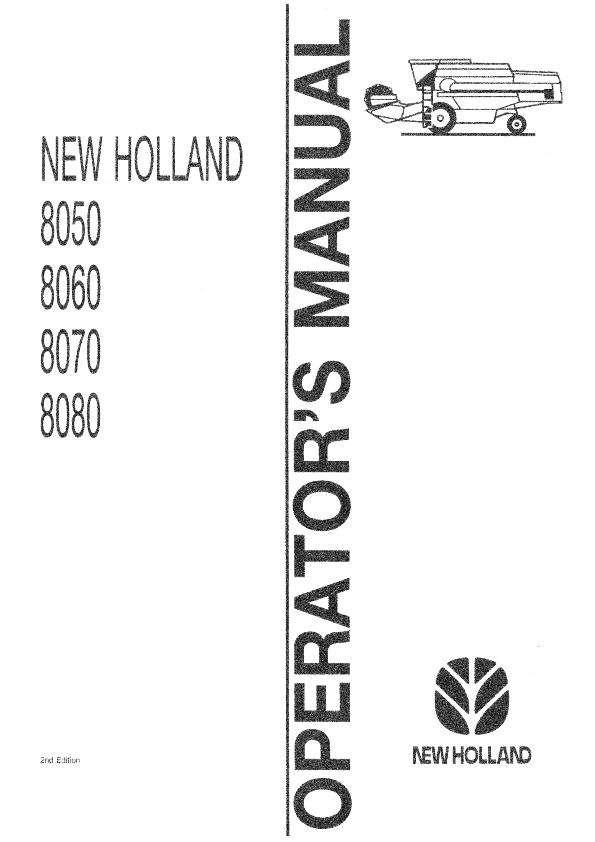 Operator's Manual for New Holland Harvesting equipment
