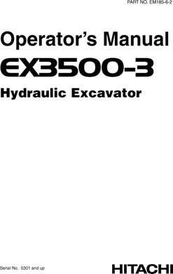 Owner Operator Manual for Hitachi Ex-3 Series model Ex3500