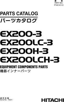 Equipment Components Parts Catalog Manual for Hitachi Ex-3