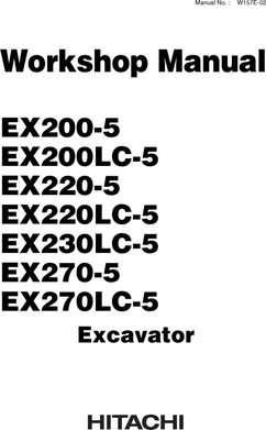 Workshop Service Repair Manual for Hitachi Ex-5 Series