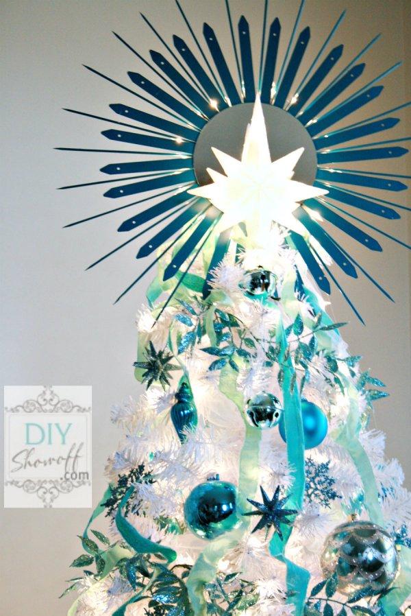 DIY lighted sunburst mirror tree topper
