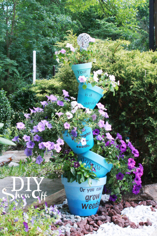 stacked ombre flower pots tutorial