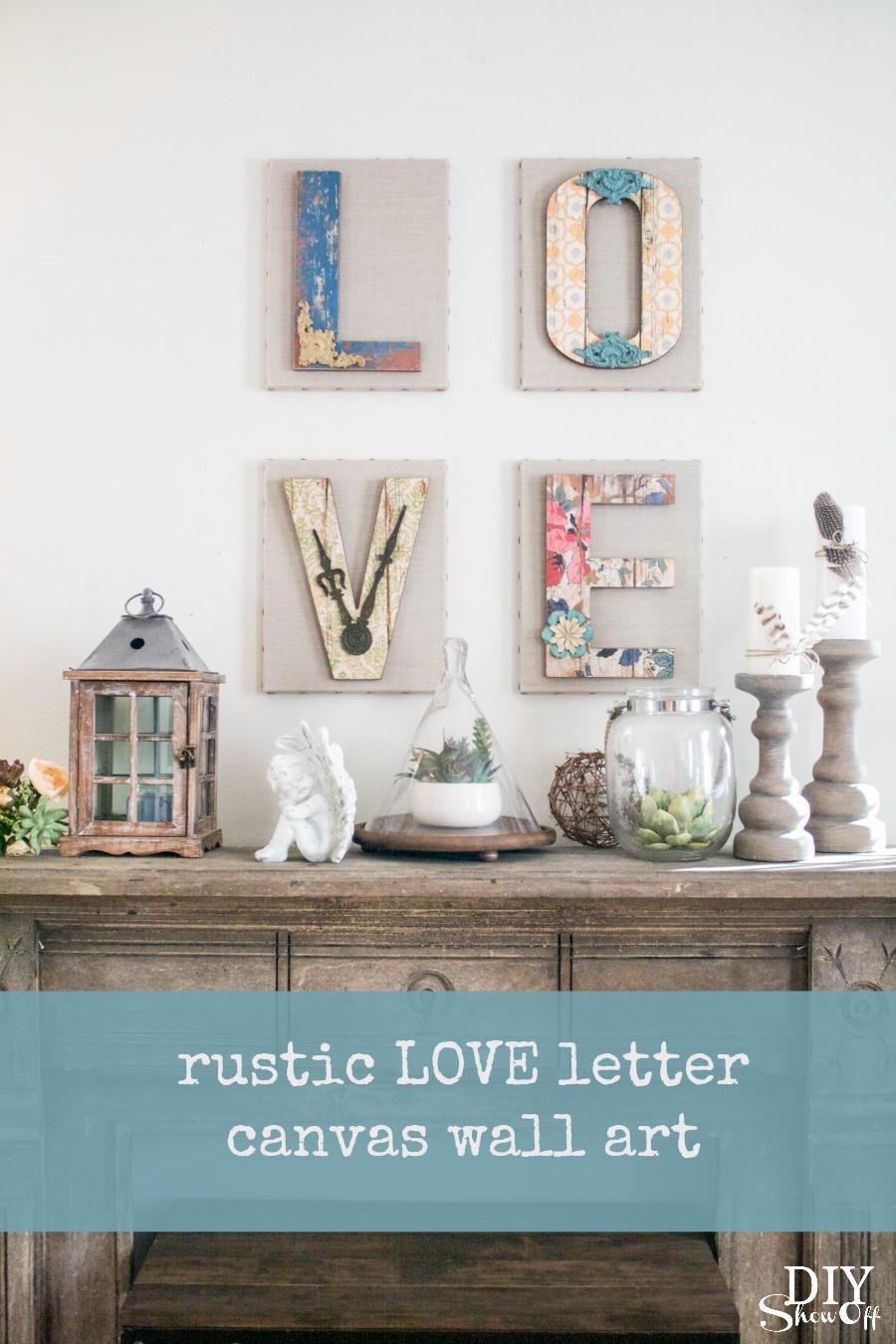 LOVE wall art canvases tutorial  DIY Show Off   DIY
