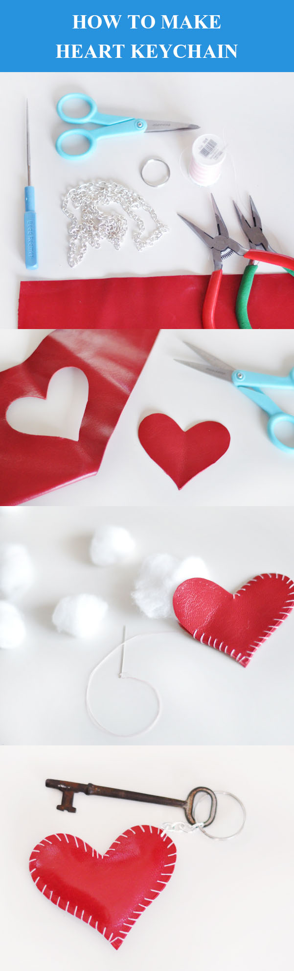 DIY Deri Kalp Anahtarlık