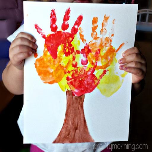 Çocuklar El İzi Sonbahar Ağaç El Sanatları