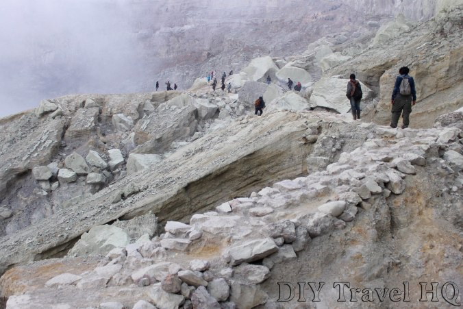 The rocky path inside Mt Ijen crater