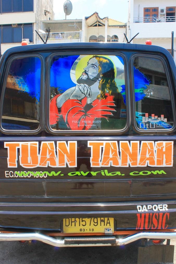 Jesus-decorated microbus in Kupang