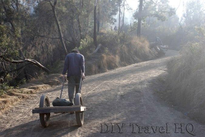 A miner returns for a 2nd haul on Mt Ijen