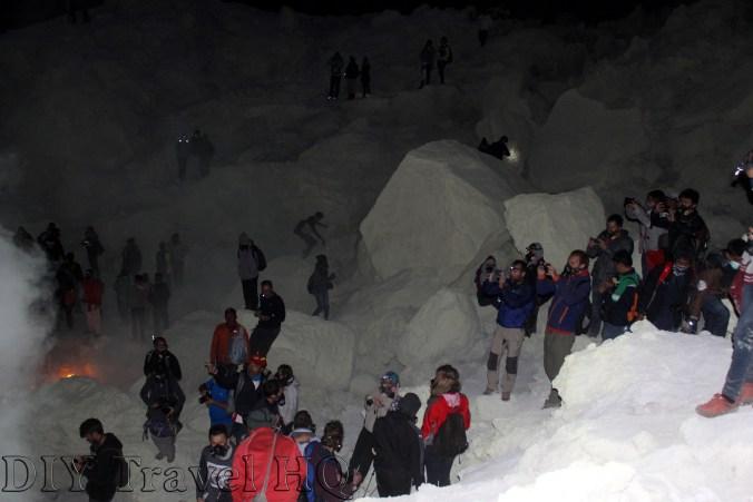 Many tourists climb Mt Ijen