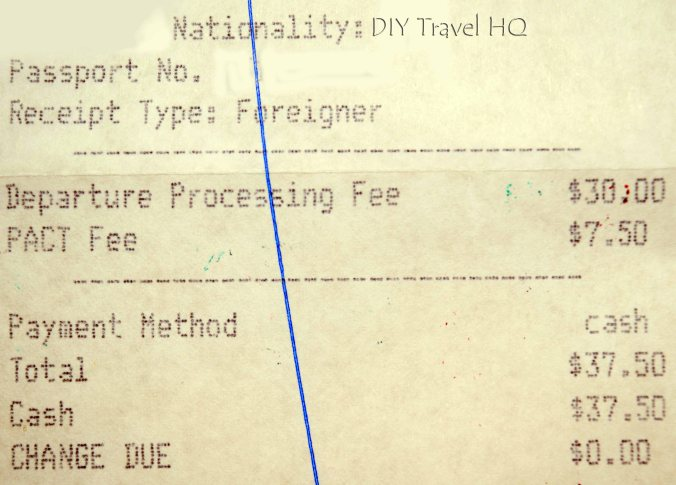 Belize Exit Fee Receipt
