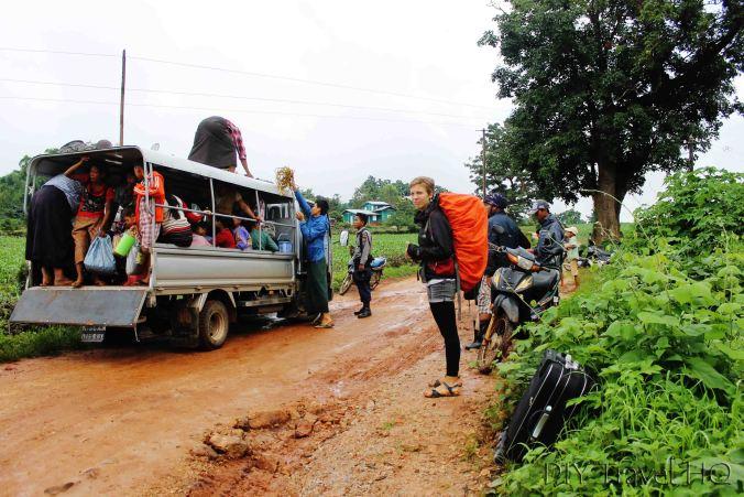 Pick up truck in rural Myanmar