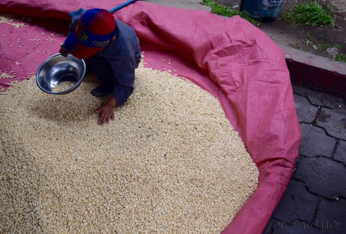 San Francisco El Alto Market Child Playing in Corn Kernel Pile