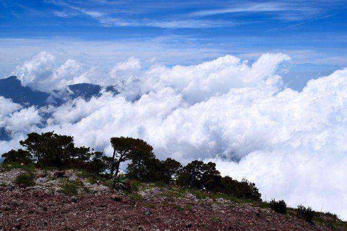 Volcan Santa Maria Stream of Clouds Blocking Volcan Santiaguito