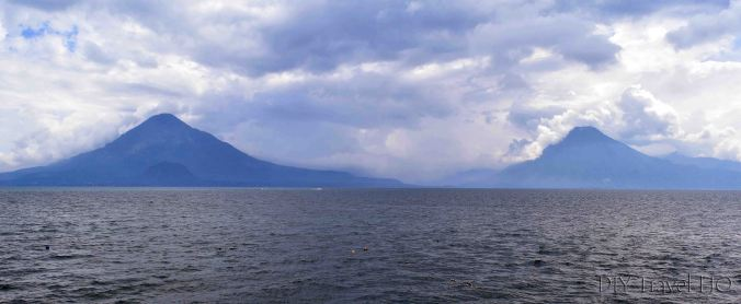 Panajachel View of Lake Atitlan and Volcanoes from Pier