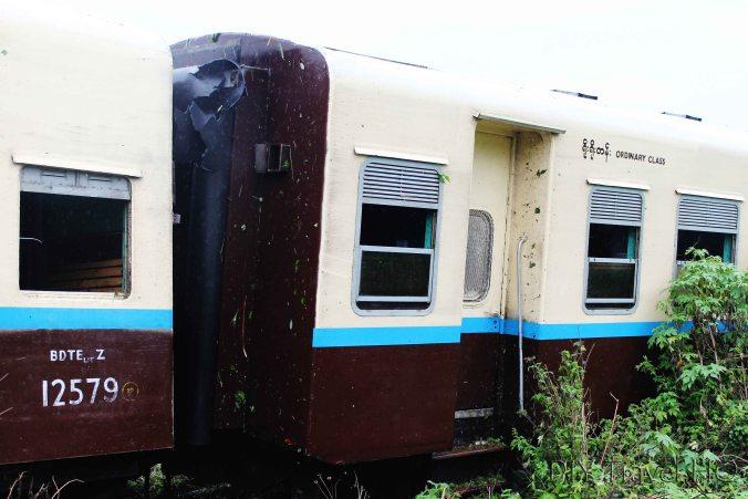Train carriage after derailment