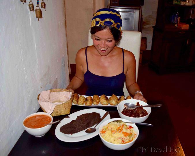 Ready to eat at El Frijol Feliz