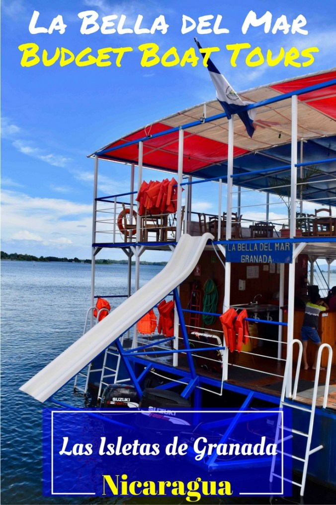 Cruise the mini-archipelago of Las Isletas with La Bella del Mar – the only boat tour in Granada that lets you swim & slide! La Bella del Mar offers the best value boat trip from Granada. It's just $10.00, including return transport find out why it's easily the best day out in Nicaragua! to/from the pier, 2-3 hours on the water & a free Nicaraguan cocktail at the end of the tour – how can you beat that for an organised tour?!