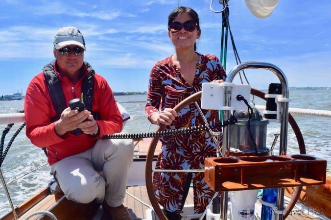Steering on Tribeca Sailing