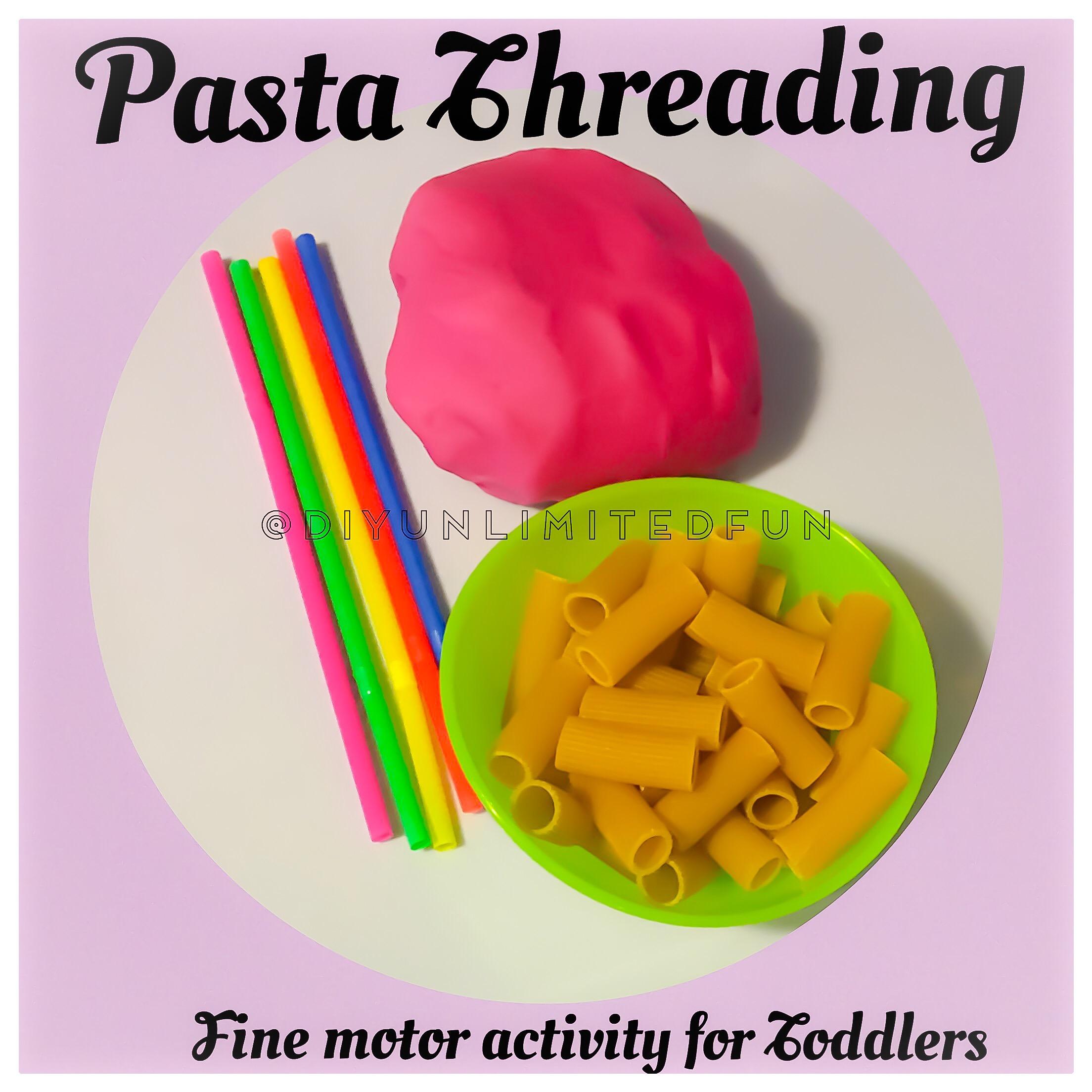 Pasta Threading Fine Motor Activity For Toddlers Simple Diys Kids Activities