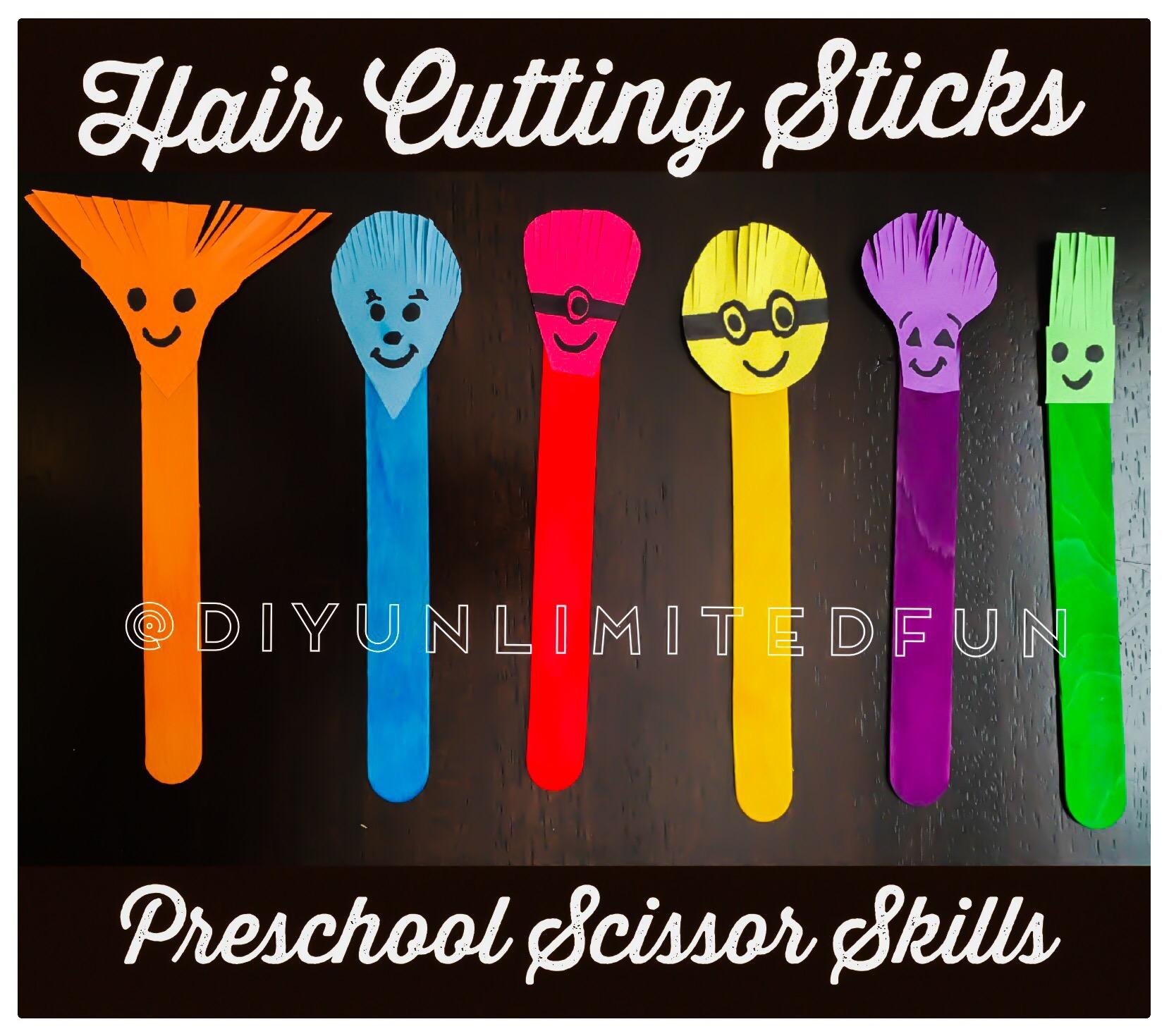 Hair Cutting Sticks Preschool Scissor Skills Simple