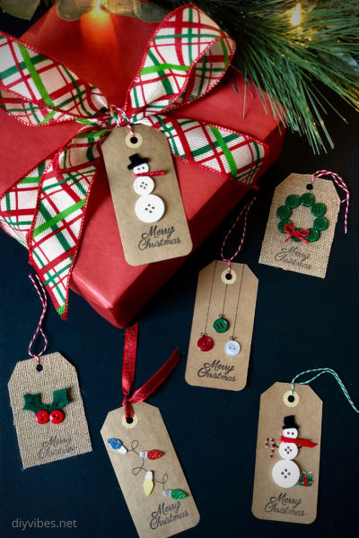 Christmas gift tags on red presant