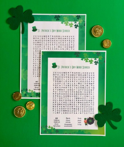 St. Patrick's day word search puzzles on a green background