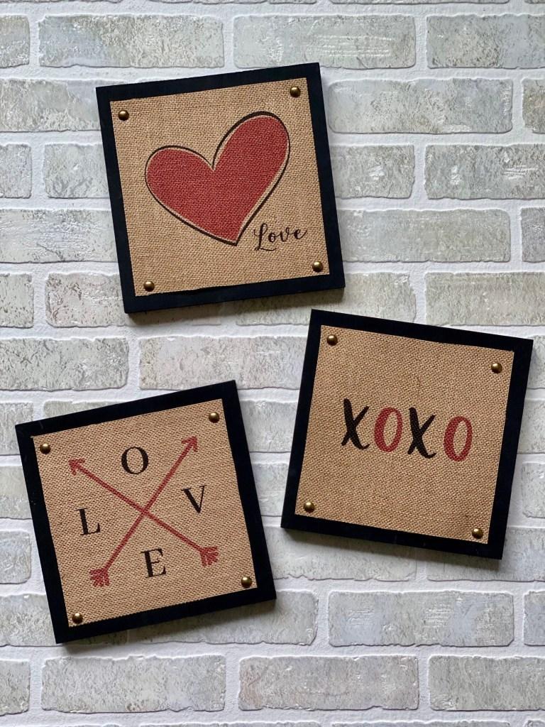 three burlap wood valentine signs