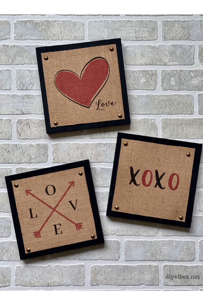 three burlap wood valentine signs